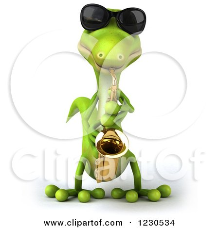 Clipart of a 3d Green Gecko in Sunglasses, Playing a Saxophone 2 - Royalty Free Illustration by Julos
