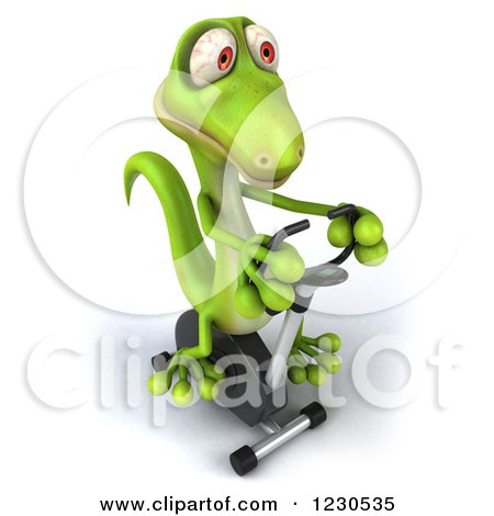 Clipart of a 3d Green Gecko Exercising on a Spin Bike - Royalty Free Illustration by Julos