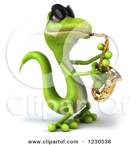 Clipart of a 3d Green Gecko in Sunglasses, Playing a Saxophone - Royalty Free Illustration by Julos