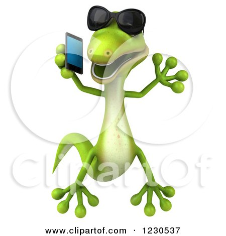 Clipart of a 3d Green Gecko in Sunglasses, Jumping and Talking on a Smart Phone - Royalty Free Illustration by Julos