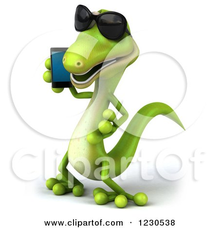 Clipart of a 3d Green Gecko in Sunglasses, Talking on a Smart Phone - Royalty Free Illustration by Julos