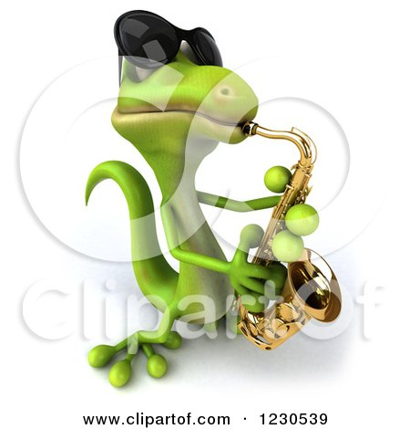 Clipart of a 3d Green Gecko in Sunglasses, Playing a Saxophone 3 - Royalty Free Illustration by Julos