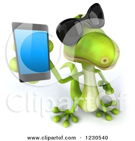 Clipart of a 3d Green Gecko Wearing Sunglasses and Holding up a Smart Phone - Royalty Free Illustration by Julos