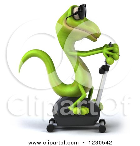 Clipart of a 3d Green Gecko in Sunglasses, Exercising on a Spin Bike 2 - Royalty Free Illustration by Julos