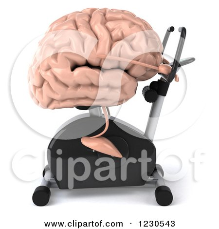 Clipart of a 3d Brain Mascot Exercising on a Stationary Bike - Royalty Free Illustration by Julos