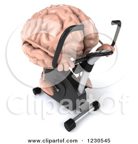 Clipart of a 3d Brain Mascot Exercising on a Stationary Bike 3 - Royalty Free Illustration by Julos