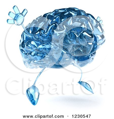 Clipart of a 3d Blue Glass Brain Jumping - Royalty Free Illustration by Julos