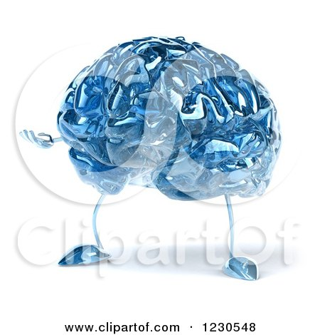 Clipart of a 3d Blue Glass Brain Presenting - Royalty Free Illustration by Julos