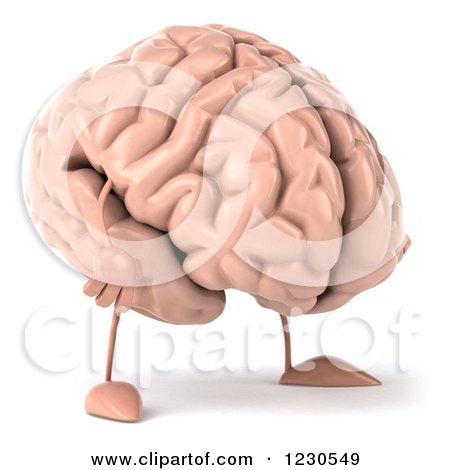 Clipart of a 3d Brain Mascot Pouting - Royalty Free Illustration by Julos