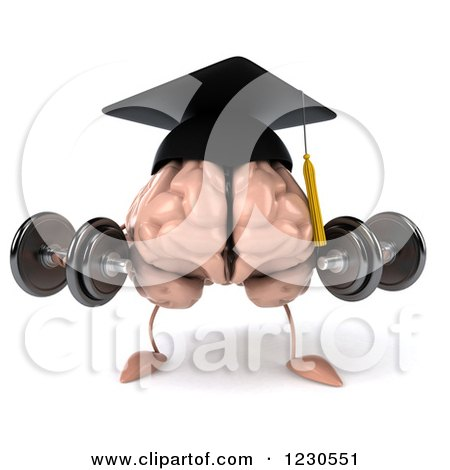 Clipart of a 3d Graduation Brain Lifting Weights - Royalty Free Illustration by Julos