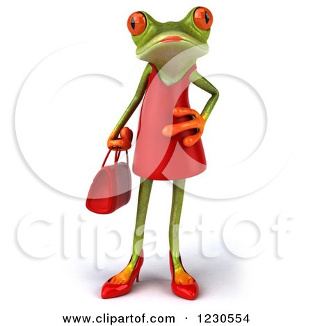 Clipart of a 3d Female Springer Frog in a Red Dress - Royalty Free Illustration by Julos