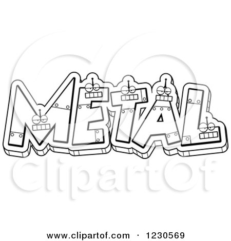 Clipart of Outlined Robot Letters Forming the Word METAL - Royalty Free Vector Illustration by Cory Thoman