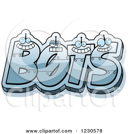 Clipart of Robot Letters Forming the Word BOTS - Royalty Free Vector Illustration by Cory Thoman