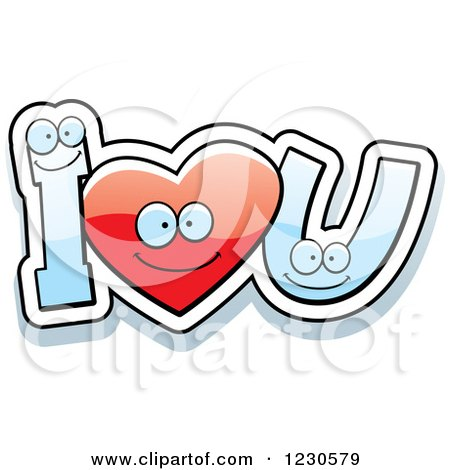Clipart of a Happy Red Heart and Letters Forming I Love You - Royalty Free Vector Illustration by Cory Thoman