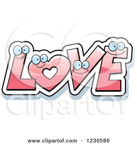 Clipart of a Happy Pink Heart and Letters Forming Love - Royalty Free Vector Illustration by Cory Thoman