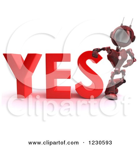 Clipart of a 3d Red Android Robot Leaning on YES - Royalty Free Illustration by KJ Pargeter