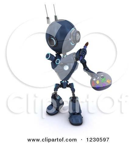 Clipart of a 3d Blue Android Robot Artist Painting - Royalty Free Illustration by KJ Pargeter
