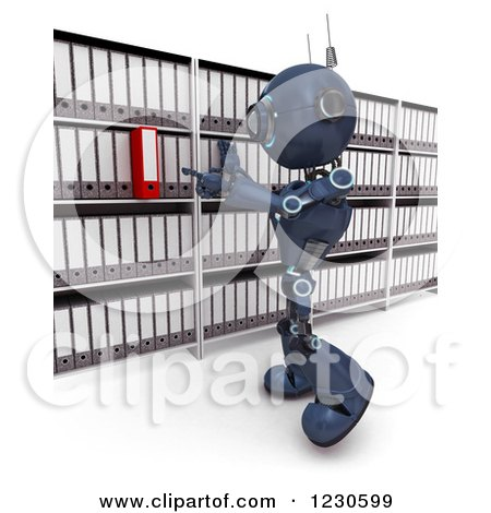 Clipart of a 3d Blue Android Robot Searching or Filing Documents - Royalty Free Illustration by KJ Pargeter