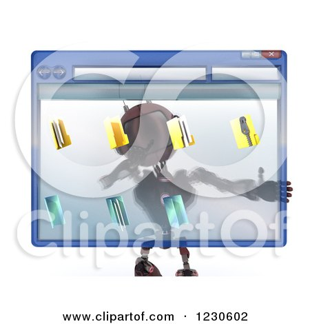 Clipart of a 3d Red Android Robot Behind a Computer File Window - Royalty Free Illustration by KJ Pargeter