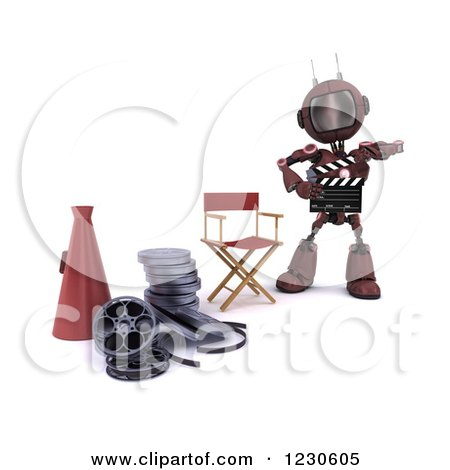 Clipart of a 3d Red Android Robot Movie Director - Royalty Free Illustration by KJ Pargeter