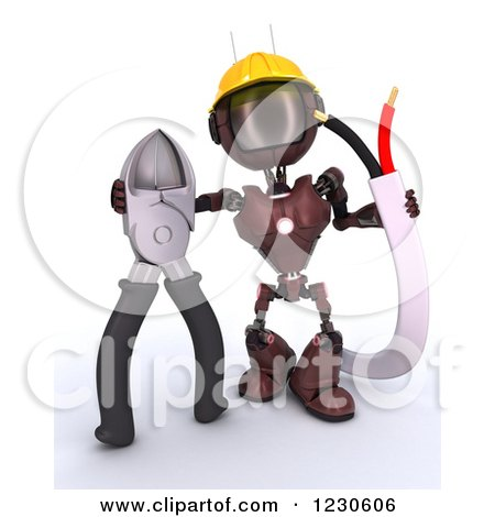 Clipart of a 3d Red Android Construction Robot with Wire Cutters - Royalty Free Illustration by KJ Pargeter