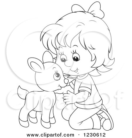 Clipart of a Happy Outlined Girl Petting a Baby Goat - Royalty Free Vector Illustration by Alex Bannykh