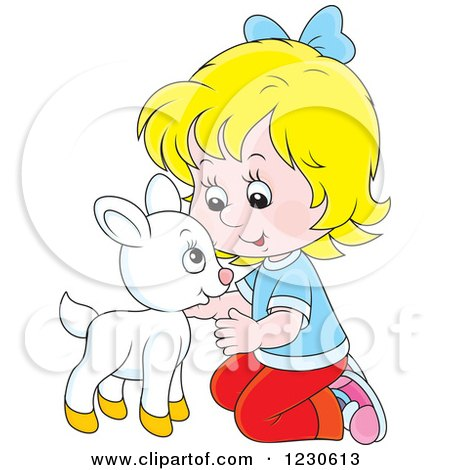 Clipart of a Happy Blond Caucasian Girl Petting a Baby Goat - Royalty Free Vector Illustration by Alex Bannykh