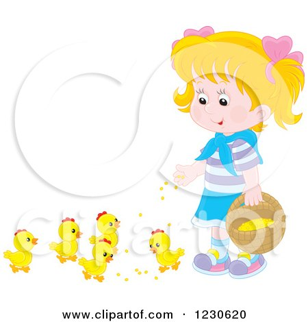 Clipart of a Happy Blond Caucasian Girl Feeding Chicks - Royalty Free Vector Illustration by Alex Bannykh