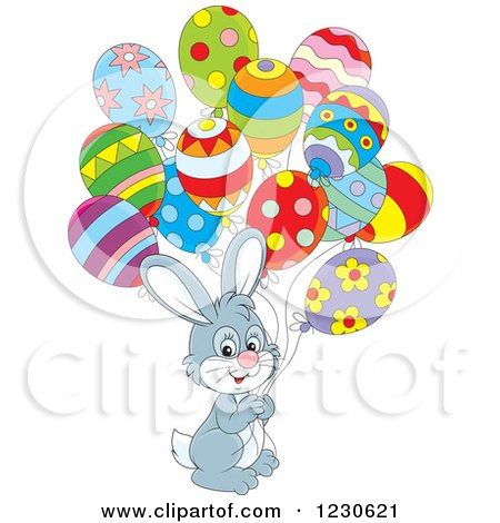 Clipart of a Gray Bunny Rabbit with Party Balloons - Royalty Free Vector Illustration by Alex Bannykh