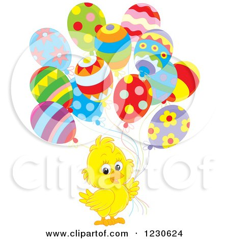 Clipart of a Cute Chick with Party Balloons - Royalty Free Illustration by Alex Bannykh