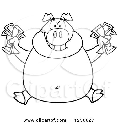 Clipart of an Outlined Rich Pig Holding Cash Money - Royalty Free Vector Illustration by Hit Toon