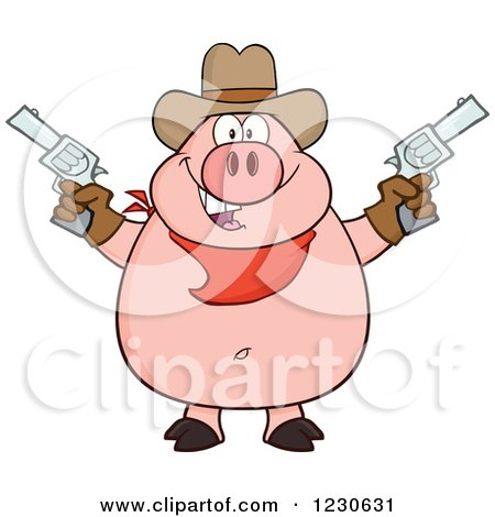 Clipart of a Shooting Cowboy Pig - Royalty Free Vector Illustration by Hit Toon
