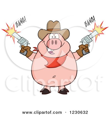 Clipart of a Cowboy Pig Shooting Pistols - Royalty Free Vector Illustration by Hit Toon