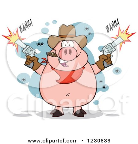 Clipart of a Shooting Cowboy Pig Smoking a Cigar - Royalty Free Vector Illustration by Hit Toon
