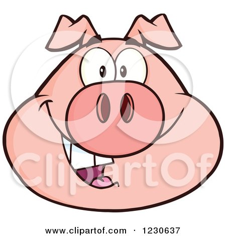 Clipart of a Happy Smiling Pig Face - Royalty Free Vector Illustration by Hit Toon