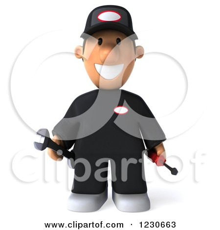Clipart of a 3d Happy Auto Mechanic Man - Royalty Free Illustration by Julos