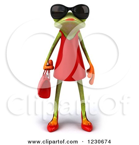 Clipart of a 3d Female Springer Frog Wearing Sunglasses and a Red Dress - Royalty Free Illustration by Julos