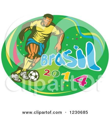 Clipart of a Soccer Player Kicking over Brasil 2014 Text on Green - Royalty Free Vector Illustration by patrimonio