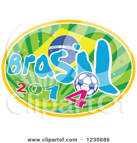 Clipart of a Brazilian Flag with Brasil 2014 Text and a Soccer Ball over Rays - Royalty Free Vector Illustration by patrimonio