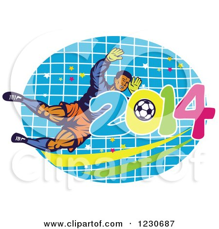 Clipart of a Soccer Goalie Blocking over a Net and 2014 - Royalty Free Vector Illustration by patrimonio