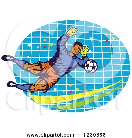 Clipart of a Soccer Goalie Blocking over a Net - Royalty Free Vector Illustration by patrimonio