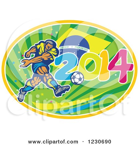 Clipart of a Soccer Player Kicking over a Brazilian Flag and 2014 - Royalty Free Vector Illustration by patrimonio