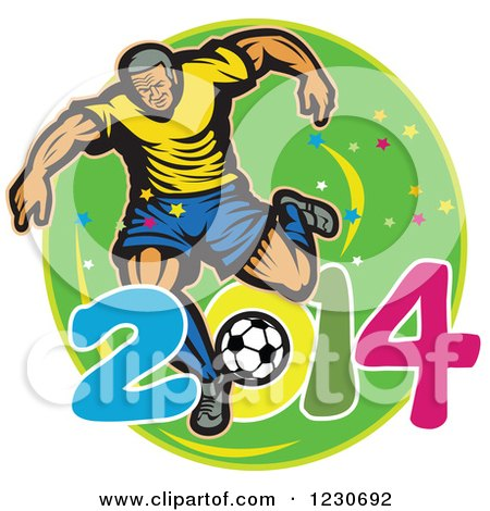 Clipart of a Soccer Player Kicking over 2014 on Green - Royalty Free Vector Illustration by patrimonio