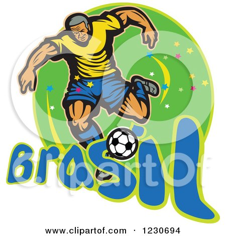 Clipart of a Soccer Player Kicking over Brazil Text on Green - Royalty Free Vector Illustration by patrimonio