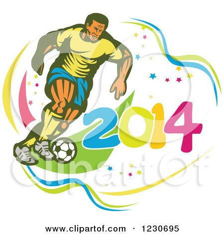 Clipart of a Soccer Player Kicking over 2014 2 - Royalty Free Vector Illustration by patrimonio