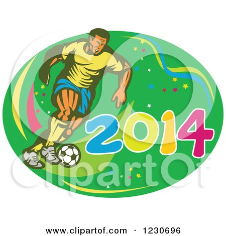 Clipart of a Soccer Player Kicking over 2014 - Royalty Free Vector Illustration by patrimonio