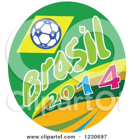 Clipart of a Soccer Ball with Brasil 2014 Text - Royalty Free Vector Illustration by patrimonio