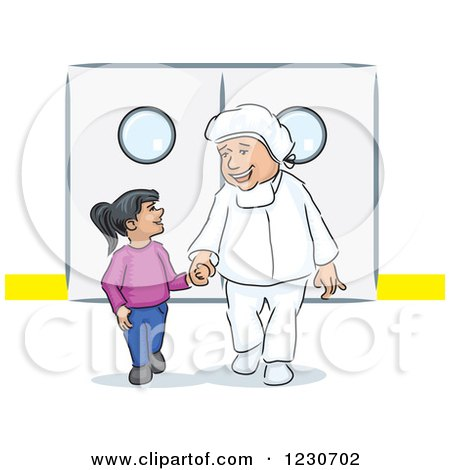 Clipart of a Kind Doctor Walking a Girl Through a Hospital - Royalty Free Vector Illustration by David Rey
