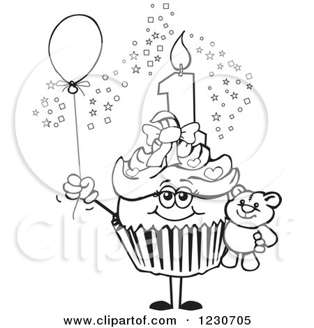 Small Cupcakes Drawings Birthday Cupcake With a