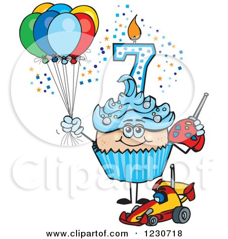 Clipart of a Blue Boys Seventh Birthday Cupcake with a Remote Control Car and Balloons - Royalty Free Vector Illustration by Dennis Holmes Designs